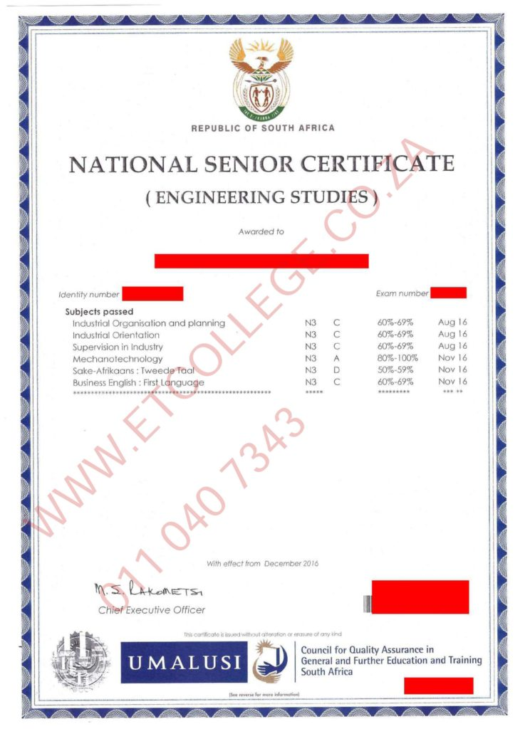 Technical Matric N3 Sample Certificate