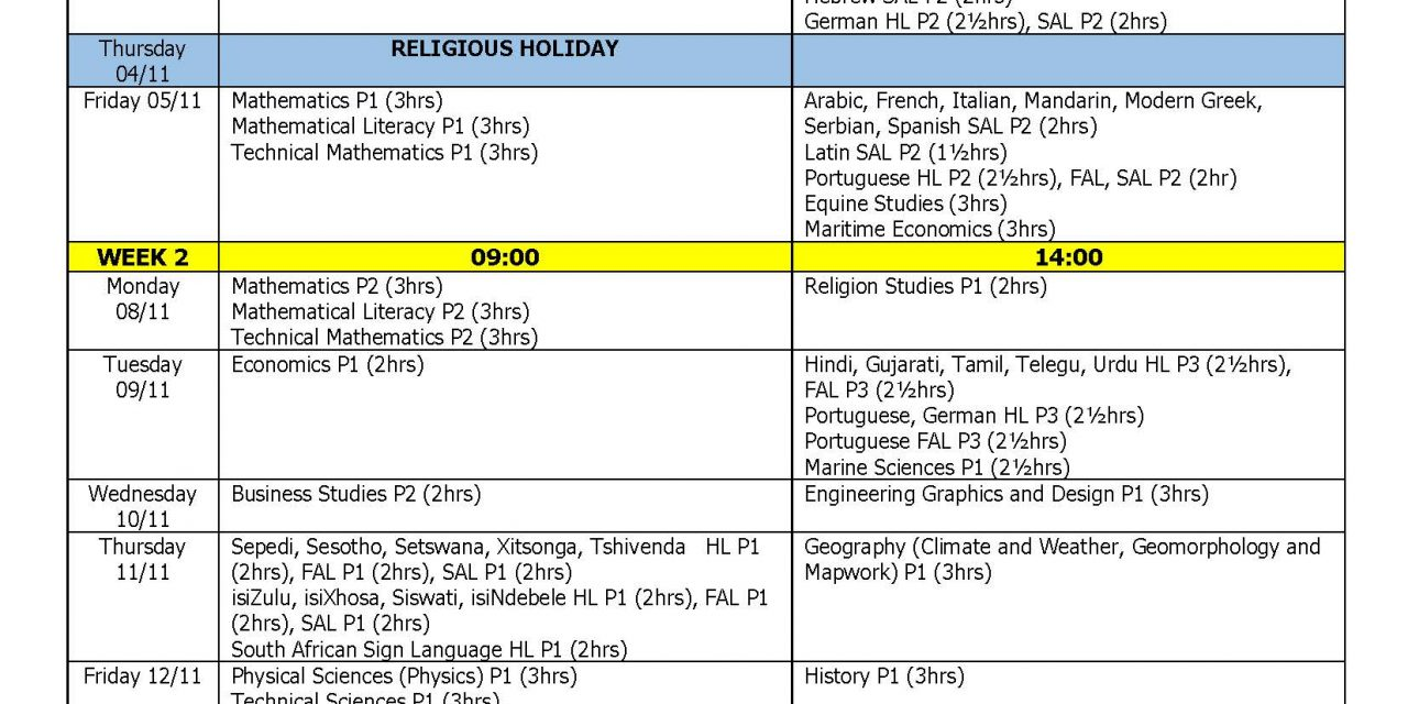 Matric 2021 Final Timetable